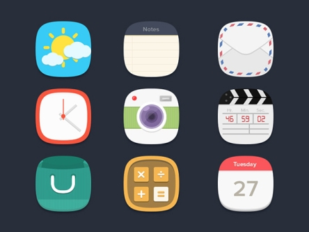 skeuomorphism, flat UI, free icons, web design